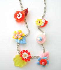 Rainbow Vintage Flowers Necklace