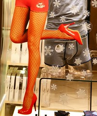 On the first day of christmas (debrabazell) Tags: christmas red sexy snowflakes legs briefs shopwindow windowshopping stilettos glamorous stilletos fishnettights stiletos christmasimage colourartaward