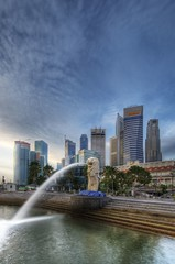 Merlion and City (Phil Date) Tags: landscape nikon singapore hdr merlion d3 1424 1424mmf28g