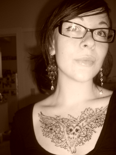 Newest photo ?; owl tattoo chest piece