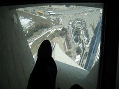 Standing on Glass Floor (Leya :P) Tags: street blue trees toronto canada tower window foot cntower glassfloor