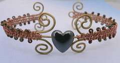 Woven Copper Wire Heart Bangle (pinkwaterfairy) Tags: heart jewelry jewellery copper bangle brass seedbeads haematite