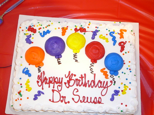 Dr Seuss' Birthday Cake at the Vineland Library.