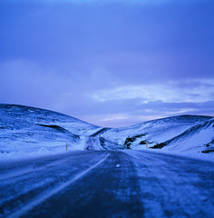 "Symbolic ""road of life"" (for me) (Boldizsár Nádi) Tags: velvia50 pentacon six carl zeiss jena biometar fuji fujifilm 6x6 medium format iceland road kleifarvatn icy hills turns winter dusk sunset horizon cloudy mid light scandinavia 80mm 120mm f28 roll 35mm 35mmphotohraphy 35mmphotographer 35mmcamera 35mmfilm analog analogphotography analogcamera analogphotohrapher noise grain film filmphotography issf istillshootonfilm issfcommunity filmisnotdead celluloid reykjavik reykjanes zomeifilter zomei filter slidefilm squareformat"