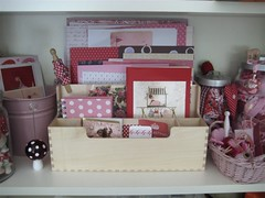 Red/White/Pink shelf (moline) Tags: pink red white colour scrapbooking paper studio ephemera organize craftroom