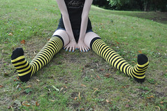 Bumble Bee Stripes (Artistic Feet) Tags: blue woman black cute feet stockings girl yellow socks female fun outside outdoors toes long pretty legs skin artistic outdoor bare gorgeous emo goth smooth arches pale barefoot kawaii heels expressive stripey soles striped ankles