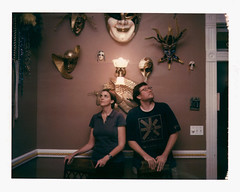 Allison & TC: The Singles Collection (donwalheim) Tags: film analog canon polaroid flash pack instant mardigras expired 580ex bounce 195 cto 669 alamodrafthouse rollingroadshow iduv thetexaschainsawmassacre panpola donwalheim