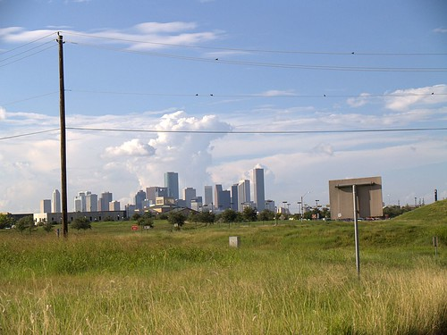 Downtown behind a field