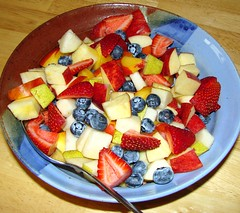 Breakfast fruit in colorful bowl (Martin LaBar (going on hiatus)) Tags: california food fruit breakfast berries pears strawberries bowl peaches ericaceae apples blueberries rosaceae 10faves 2on2 jentacular