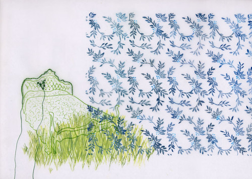bed drawing :: a green bed in grass