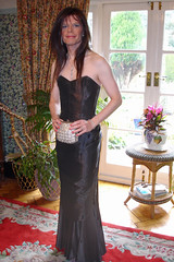 Elegant in Black (isabel_girl1970) Tags: crossdressing transgender eveninggown satindress