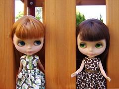 Gigi & Thora (Brentments) Tags: light brown house 3 fall vintage doll downtown julie redhead creation cotton gigi kenner blythe brunette bangs fabulous bang 1972 extravaganza thora origin chunky 2007 banged creations pinku of