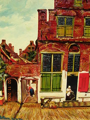 Vermeer's 'The little street'. (davidezartz) Tags: street door blue light red sky people woman brown white black holland green art texture dutch amsterdam yellow wall architecture clouds buildings painting grey nikon gate artist colours shadows little jan board bricks nederland thenetherlands delft doorway elements painter vermeer johannes baroque picturesque rijksmuseum leading oils balanced oldmaster brickwork masterpiece technicolour littlestreet e3100 johannesvermeer supershot dutchmasters nikone3100 janvermeer nikonstunninggallery mywinners platinumphoto 16321675 dutchgoldenage theunforgettablepictures overtheexcellence theperfectphotographer goldstaraward artgalleryandmuseums thelittlestreet