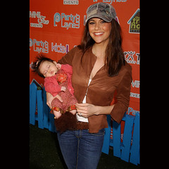 Samantha Harris poses with her 11-week-old daughter Josselyn at the launch of KidsLA Magazine at the Treehouse Social Club in Los Angeles on December 9th. (HOLLYWOOD KIDS) Tags: woman baby kids mom femme mommy hollywood mummy samanthaharris dancewiththestarsactress hollygossip