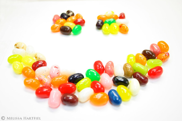 A smiley face made of jellybeans