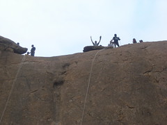 Some people are yet to get down! (aanjhan) Tags: trekking bangalore rappelling rbin ramnagar chimneyclimbing