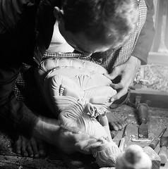 Master wood carver, Mandalay. (ndnbrunei) Tags: travel blackandwhite bw 120 6x6 tlr film rollei mediumformat square kodak bn mf myanmar kodakbw400cn rolleicord bw400cn classicblackwhite rolleigallery ndnbrunei