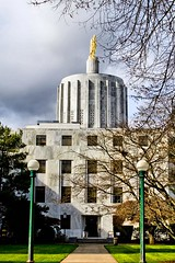 Contained Within These Walls - a side view of the Oregon State Capitol Building in Salem Oregon