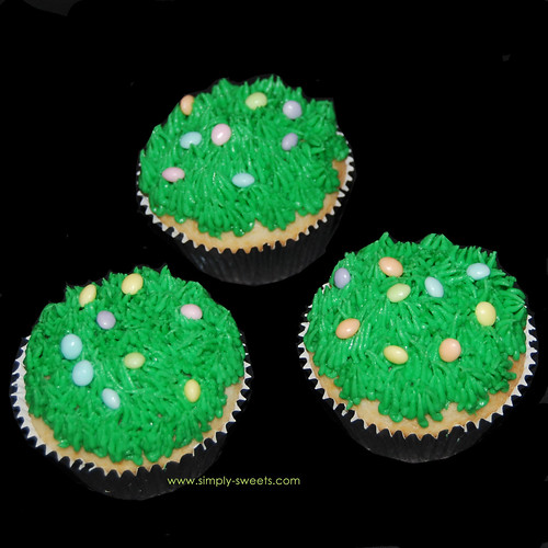 Easter eggs in grass cupcakes