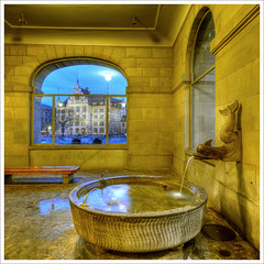 window with a fine view (Toni_V) Tags: fountain topv111 night schweiz switzerland bravo europe tripod zurich zürich 2008 hdr gitzo stadthaus helmhaus d300 sigma1020mm themoulinrouge photomatix stadthausquai 5exp capturenx toniv mywinners diamondclassphotographer flickrdiamond gt1540 theperfectphotographer ©toniv 05042008