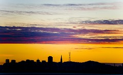 San Francisco Skyline (Thomas Hawk) Tags: sanfrancisco california sunset usa silhouette architecture berkeley downtown unitedstates 10 unitedstatesofamerica william fav20 financialdistrict eastbay transamerica fav30 sutrotower transamericapyramid berkeleymarina transamericabuilding pereira fav10 williampereira fav25 williamlpereira pereria superfave
