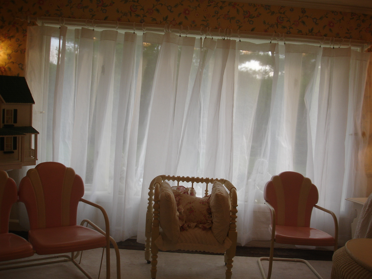 White Organdy Curtains Stiff Finish