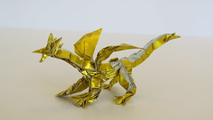 Box-pleated origami dragon - version two (Tankoda) Tags: origami box pleated boxpleated dragon evolution version one 1 travis nolan own design folded by art paper japanese foil 6 six inch 8 eight gold silver wings head legs toes