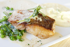 fish, peas, white wine sauce, anchovy mashed potatoes