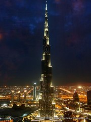 Burj Khalifa, Dubai at night -    (Sir Francis Canker Photography ) Tags: world trip travel blue panorama storm tower art tourism monument skyline architecture night skyscraper island twilight desert dusk muslim islam dune uae middleeast landmark visit icon tourist best palm arabic emirates burjalarab nocturna desierto lightning arabian blitz grattacielo thunder unitedarabemirates impressive gcc isla