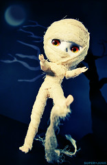 i'm a mummy (Super*Junk) Tags: holiday halloween night photoshop doll zombie haunted spooky horror undead blythe mummy corpse gauze