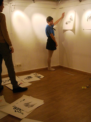 Jessica setting the exhibition
