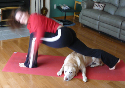 Helping Laura do Yoga