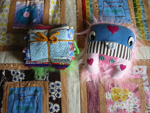 patchwork swap--the fabric and creature Jenny sent to me!
