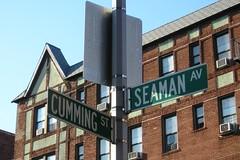 CUMMING & SEAMAN Street Signs, Inwood New York City (jag9889) Tags: street city nyc newyork sign manhattan 2006 pole cumming inwood seaman y2006 inwoodite jag9889