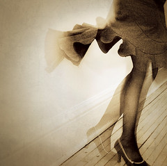 twirl (jasfitz) Tags: stockings sepia grey pumps highheels legs spin skirt twirl heels pinstripe calves