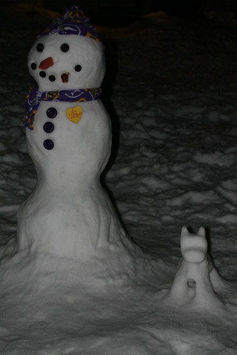 Snowman & Snowdog at night