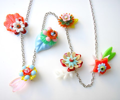 Rainbow Vintage Flowers Necklace