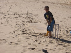 Beach cricket fanatic