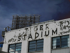 Abandoned Tiger Stadium - Detroit ( ALL RIGHTS RESERVED ) (DetroitDerek Photography ( ALL RIGHTS RESERVED )) Tags: blue winter sky game abandoned sign cool closed sad view baseball stadium decay urbandecay detroit faded vacant cobb morris february sparky gibson 2008 detroitlions tigerstadium whitaker dilapidated allrightsreserved 1911 detroittigers removed 313 corktown harwell historicsite majorleague kaline trammel northrup gehringer expdet04theme