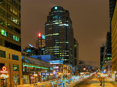 McGill College avenue - Montreal (Nino H) Tags: city winter snow canada night buildings downtown montral quebec montreal hiver qubec neige montroyal nuit hdr lumires lacroix thecross mcgillcollege mywinners photoquebec