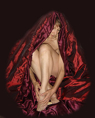 wrapped in a warm comforter (Time-Freeze) Tags: red woman scarlet legs body bodylanguage thoughts language emotions comforter bordeauxcolor timefreezesad