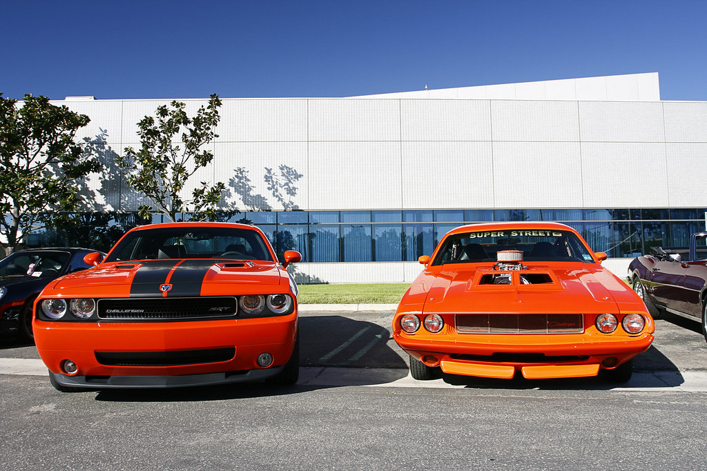 New And Old Dodge Challenger Cars And Coffee Transportation In