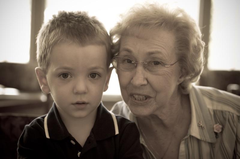 My little man and Great Grandma