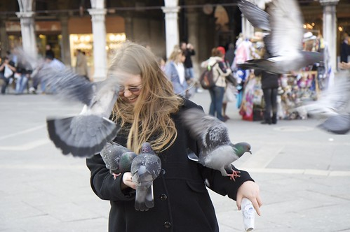 Wendy attacked by pigeons in St. Mark's Square, Venice, Italy