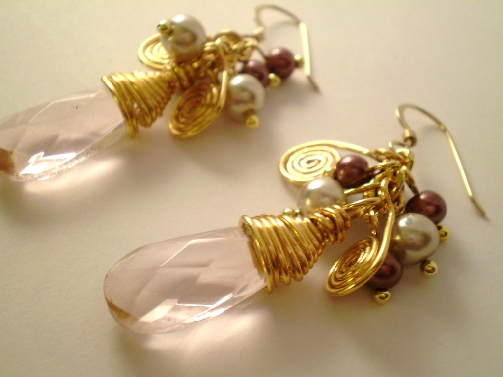 Pink Briolette Wire Wrapped Earrings with Gold