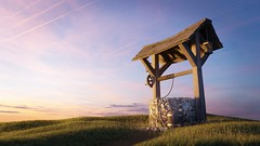 Dusty Wishes (Armando Tello) Tags: blender 3d cycles render outdoor exterior grass nature wishing well bucket stone wood old grunge sky sunset water lamp rope poliigon dirty