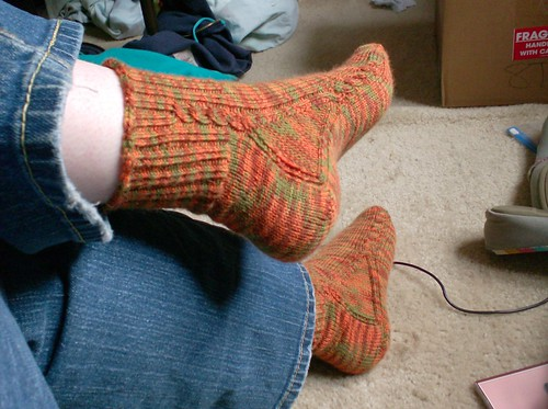 Yarnissima Brainless cabled knitted orange green and brown socks