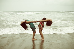 """""""Slow down you crazy child"""" (stoneylittleprincess) Tags: cold feet beach water fog clouds hair emily sand toes waves arch legs boobs head footprints ears dresses foam holdinghands shoulders knees muggy eyeballs backbend flexible veena"""