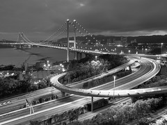 Tsing Ma Bridge (inkelv1122) Tags: bridge bw night hongkong hdr tsingmabridge