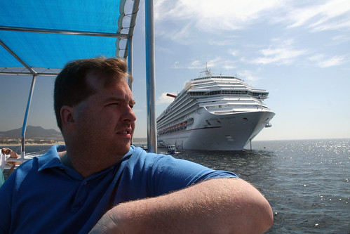 Carnival Splendor - Mike on Catamaran Tender to Cabo